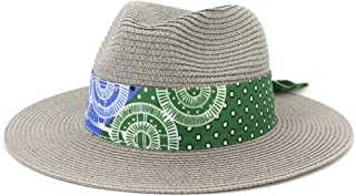 Sun Hat for men and women Fashion Women Straw Sun Hat Bright Straw Hat Wide Brim Jazz Hat Beach Wing UV Fedora Hat Protective Felt Hat With Fabric Ribbon