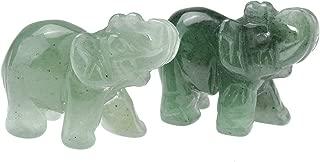 JOVIVI 2pc Natural Carved Gemstones Elephant Figurine 1.5'' Room Decoration, with Gift Box (Green Aventurine)