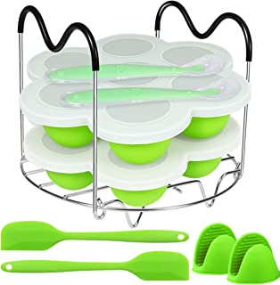 Aiduy Silicone Egg Bites Molds and Steamer Rack Trivet with Heat Resistant Handles Compatible with Instant Pot 6, 8 Qt, 9 ...