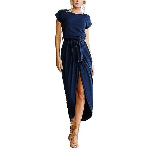a7c04ee835 Yidarton Women s Casual Short Sleeve Slit Solid Party Summer Long Maxi Dress