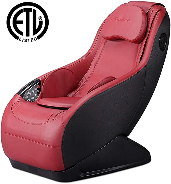 Fully Assembled Curved Long Rail Shiatsu Massage Chair W Wireless Bluetooth Speaker And USB Charger PS4 Burgundy Massage Chair