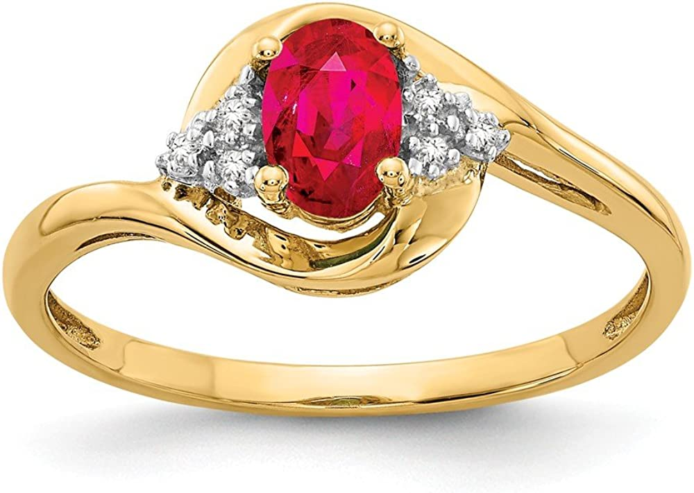 14k Yellow Gold Red Ruby Diamond Band Ring Size 7.00 Stone Birthstone July Fine Jewelry For Women Gifts For Her