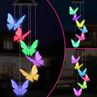 Color Changing LED Butterfly Solar Wind Chimes Gift Portable Waterproof Mobile Romantic Windchime LED Solar Butterflies Wi...