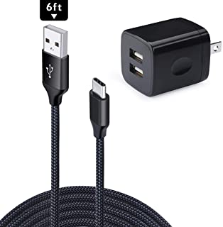Wall Charger, USB C Charger 6ft Braided, USB Brick 2.1A/5V Dual Port USB Charger Plug Charging Block Cube for Samsung Galaxy Note 10 10 Plus 9 8, S10 S10 Plus S9 S8, A40 A50 A70 A80 A20E A10E A30 M30