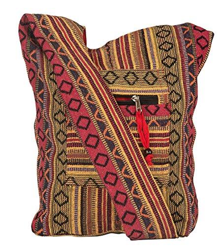 Tribe Azure Red Hobo Messenger Shoulder Bag Large Roomy School Sling Travel Camping Beach Cross body