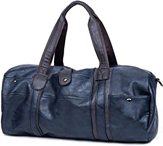 CHAO RAN Leather Travel Weekender Overnight Duffel Bag Gym Sports Luggage Tote Duffle Bags for Men & Women (Blue)