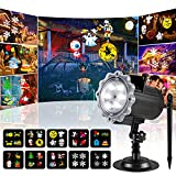 EcoGuru Halloween Christmas Projector Lights Outdoor, Upgrade 10 HD Non-Fading Slides Bright LED Waterproof Snowflake Projector Lamp for Birthday Valentine Party Holiday Decor(Spike/Ground)