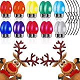 32 Pieces Christmas Car Magnets Set, 20 Pieces Reflective Lights Bulb Car Magnet with 10 Magnet Wire, and 2 Pieces Reindeer Magnet Reflective Refrigerator Decal Christmas Car Magnets Automotive Magnet