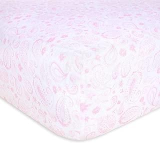 Burt's Bees Baby - Fitted Crib Sheet, Girls & Unisex 100% Organic Cotton Crib Sheet for Standard Crib and Toddler Mattresses (Pink Paisley)