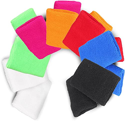 popular Mallofusa 7 Pair Mix-Color Soft Cotton Stretchy Sports Sweat wholesale lowest Wristband Outdoor Activity Basketball Volleyball Football Tennis Exercise Wrist Sweatband outlet sale