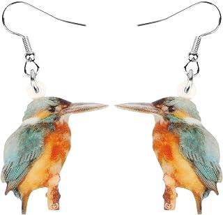 NEWEI Acrylic Brown Kingfisher Bird Earrings Dangle Drop Printing Aesthetic Animal Jewelry For Women Girls Teen Charm Gifts