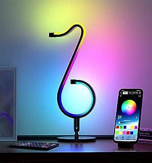 QJUZO LED Lampe de Bureau Design Moderne avec Télécommande RGB Lampe de Table Dimmable Chambre Multicolore Veilleuse pour ...