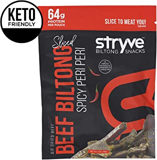 Stryve Protein Snack | Air Dried 100% Beef Biltong | Lighter Than Jerky Keto Meat Snack | No Carb, No Sugar | No Gluten No Soy | 16g Protein | Spicy Peri Peri, 4oz
