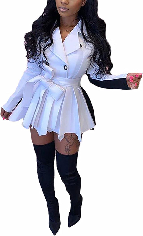 Kafiloe Women Sexy Cheap sale Dress Coat service Dr Blazer Mini Trench Pleated