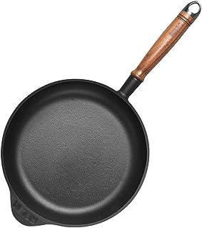 26cm | Sartén de inducción antiadherente Gourmet | Sartén de hierro fundido | Cazo de fondo plano | con mango de madera de nogal | Easy Clean |Apto for todas las placas de inducción. AAA~