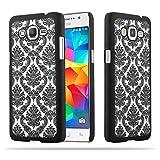 Cadorabo Samsung Galaxy Grand Prime Hardcase Hülle in SCHWARZ Blumen Paisley Henna Design Schutzhülle – Handyhülle Bumper Back Hülle Cover