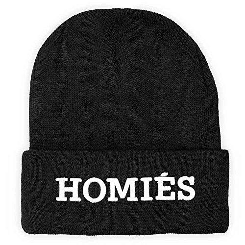 DISTRESSED Statement Logo Long Beanie bestickt Mütze Strickmütze HOMIES schwarz