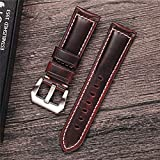 xiumei 24mm Cowhide Oil-Tanned Leather Watch Band Replacement Watch Strap Steel Buckle-Red Brown Watch Band
