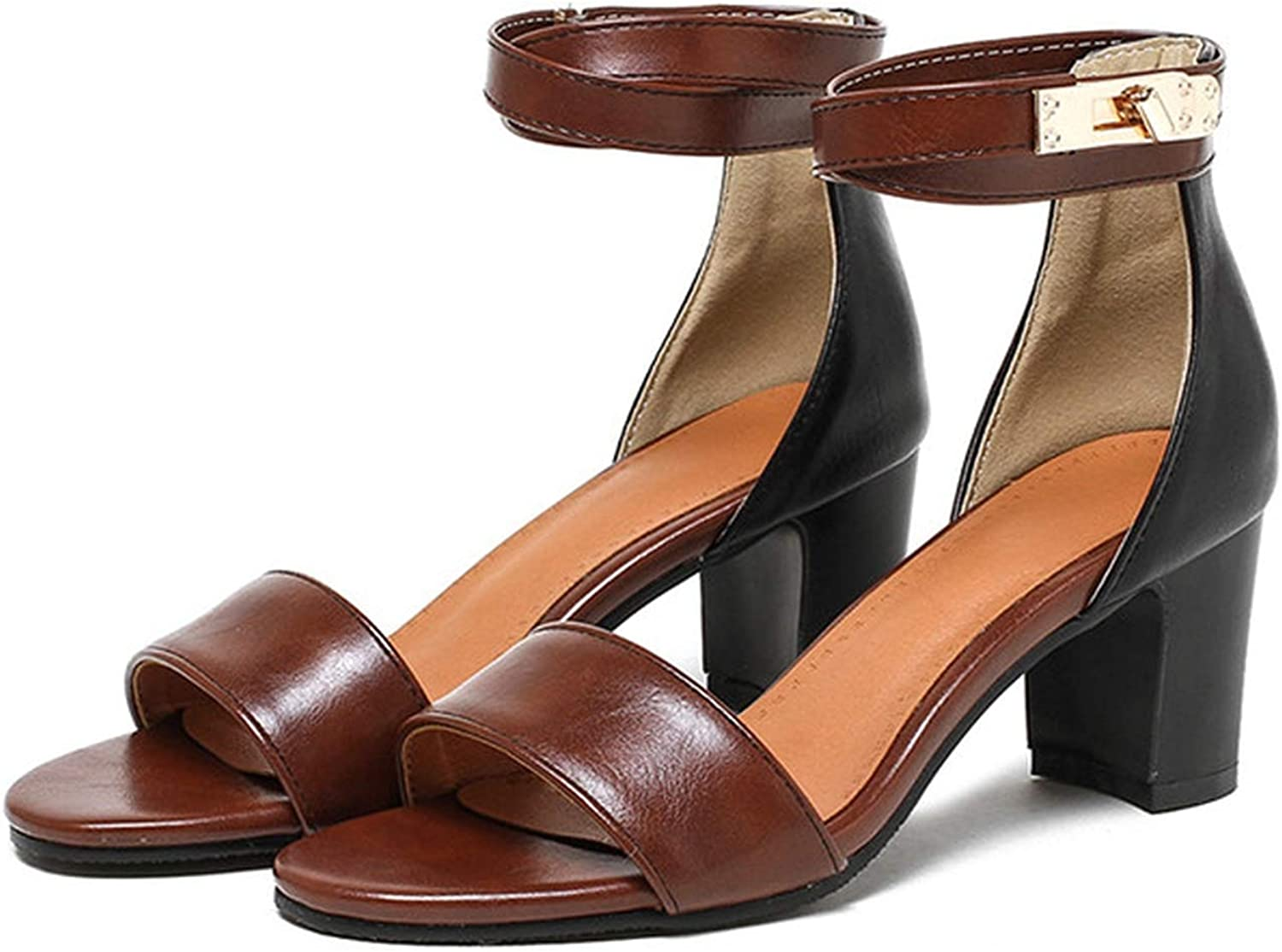YuJi Summer Sandals Mixed colors Thick High Heels Party shoes Open Toe Ankle Strap Sandals,Brown,4