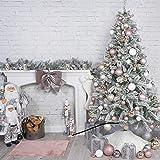 QTQHOME Árbol De Navidad Artificial con Ornamento Y Luces,Lujo Nevado Acudieron Árbol De Navidad Invierno Blanco Pre-Cama PVC Pino Árbol Navideña Decoración Navideña-Blanco 120cm/4ft
