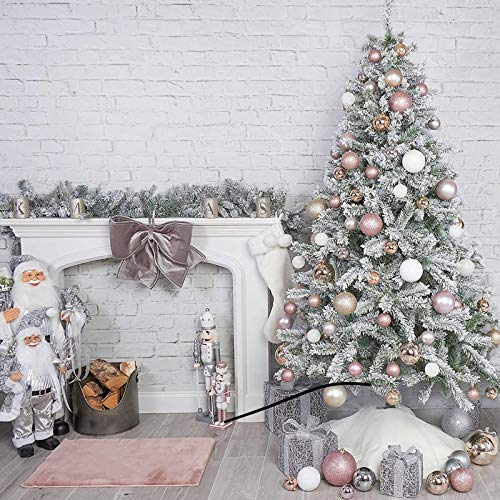 FCSFSF Luxury Snowy Flocked Christmas Tree Winter White Pre-bed PVC Pine Xmas Tree Holiday Decor,270cm 9ft Artificial Christmas Tree With Ornaments And Lights