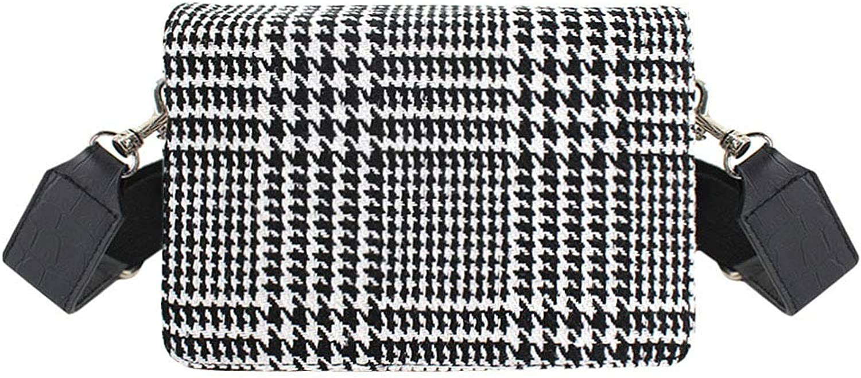 Aisa Lady Vintage Houndstooth Suede Genuine Leather Fashion Handbag Girl Plaid Pattern Party Clutch Shoulder Bag Black
