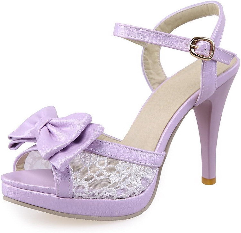 AmoonyFashion Women's Soft Material Buckle Peep Toe High-Heels Solid Heeled-Sandals