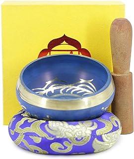 Dharma Mode Bowl and Singing Bowl Mat Set Buddha Meditation Instrument Temple Home Decoration (Size : 10.5cm)