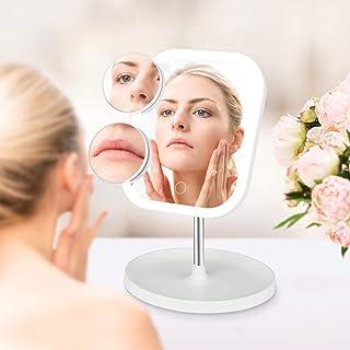 مرآة مكياج مضاء، مرآة فانيتي للسفر بإضاءة LED، 26 مرآة تكبير 1 × 5 × 10 مرات مع مفتاح يعمل باللمس، خاصية تعتيم دوارة 360 د...