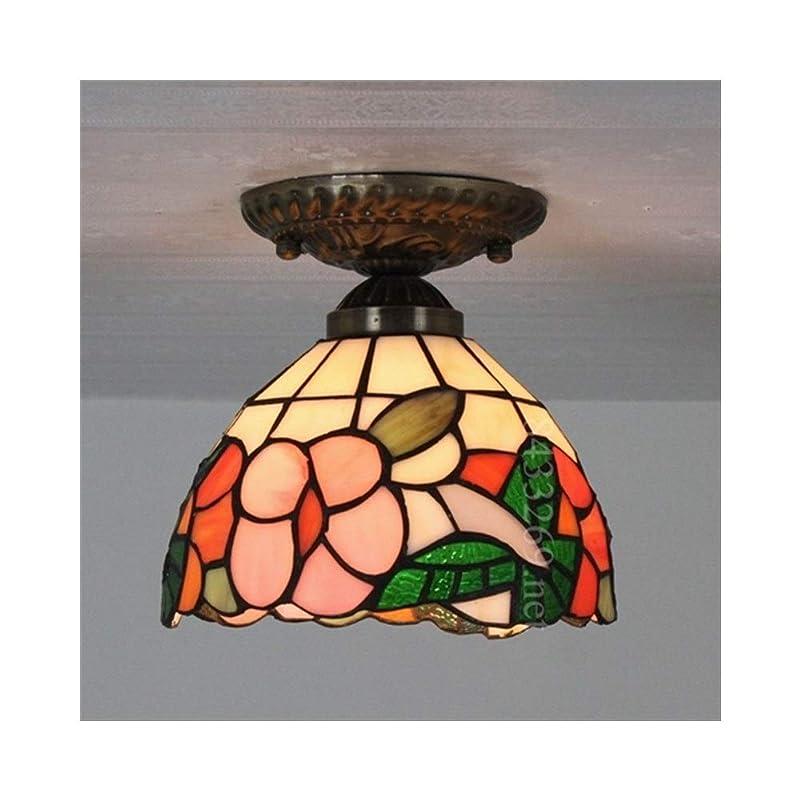 懐疑的住人ハチ8インチの手作りの天井灯ステンドグラスの花のデザイン廊下の下にある中庭の照明