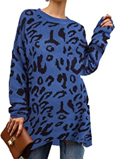 PRETTYGARDEN Women's Casual Leopard Print Long Sleeve Crew Neck Knitted Oversized Pullover Sweaters Tops