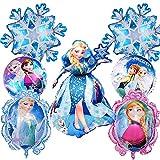 Copo de nieve Decoraciones para fiesta de cumpleaños 10PCS Frozenes Party Decoración de cumpleaños Globos Globo de papel de aluminio Globo de aire Decoración de cumpleaños para niños 18 pulgadas