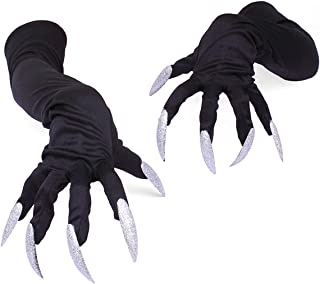 Amorar 1 Paar Erwachsene Halloween Handschuhe Lange Glitter Fingernägel Klaue Cosplay Handschuhe Karneval Kostüm Party Performance Manschetten,EINWEG Verpackung