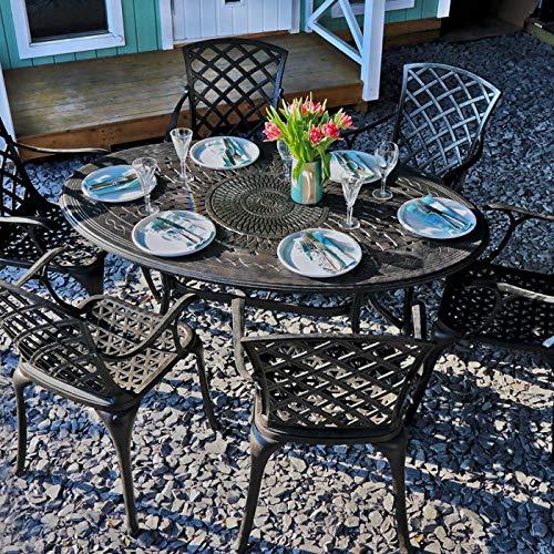 Lazy Susan - Emily 150 x 95 cm Ovaler Gartentisch mit 6 Stühlen - Gartenmöbel Set aus Metall, Antik Bronze (Kate Stühle)