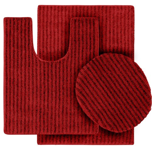 Garland Rug 3-Piece Sheridan Nylon Washable Bathroom Rug Set, Chili Pepper Red