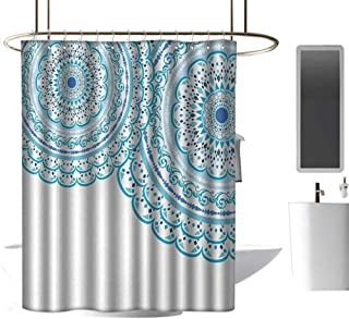 shower curtains for bathroom african american Mandala,Wedding Invitation Card Theme Lace Mandala and Place for Text Art Print,Sky Blue Light Blue ,W48