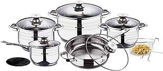 Blaumann Olla De Cocina Juego de acero inoxidable–13piezas–Apto para Inducción–glasabdeckung con válvula de vapor con válvula de vapor con válvula de vapor