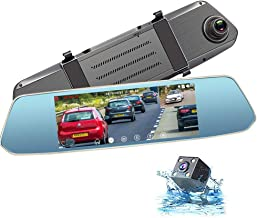 Dash Cam Front and Rear View Mirror Dashcam 1080P FHD Backup Camera for Cars 7 Inches with Touch Screen.