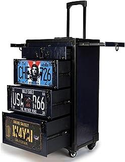 حقيبة أدوات شعر احترافية بعجلات لحمل أدوات التجميل ذات سعة كبيرة مع صندوق تخزين على شكل درج للسفر ومصفف السفر