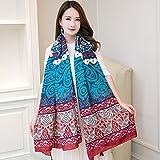 feiren Bufandas para mujer, otoño e invierno, estilo nacional, protección solar, bufanda suave con estampado antiultravioleta, color