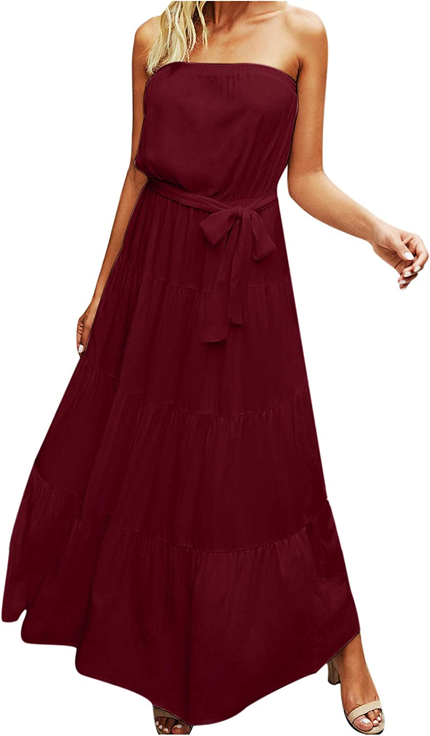 Bidobibo Womens Summer Dresses Casual Off Shoulder Sleeveless Pleated Solid Color Dress Tie Front Long Sundresses for Women