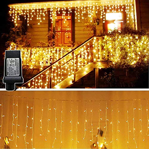KNONEW LED Icicle Lights, 216 LEDs, 16.4ft, 8 Modes, Curtain Fairy Light Plug in for Indoor Outdoor, Wedding/Christmas/Halloween/Thanksgiving/Easter/Party Backdrops/Gazebo (Connected in Series)