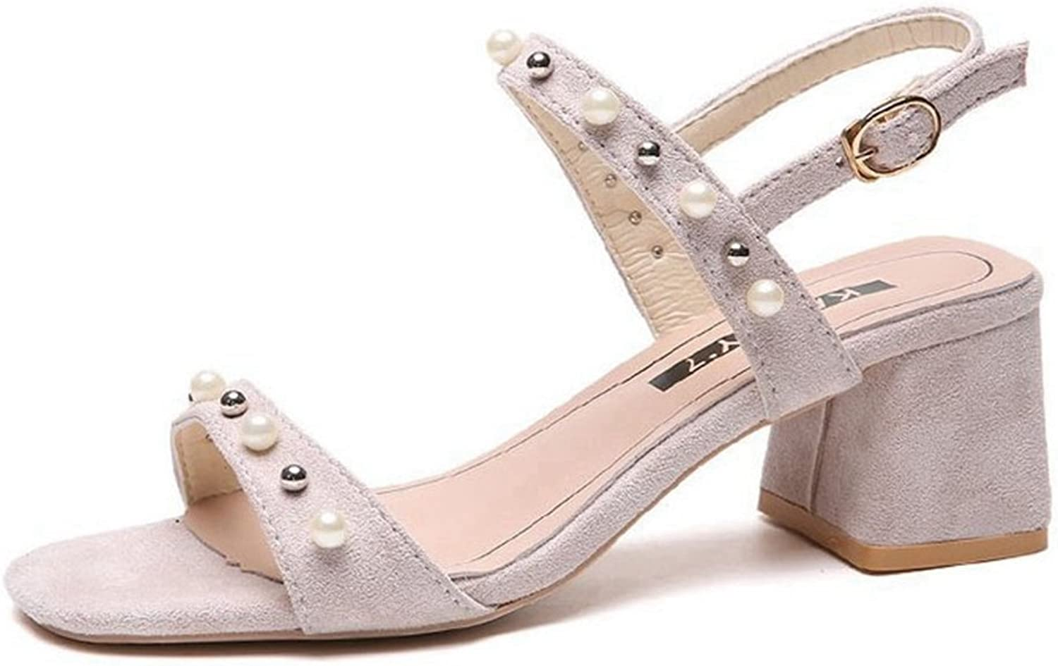 GIY Womens Pearl Ankle Strap Single Sandals Low Chunky Block Comfortable Slip On Mules Heeled Sandals