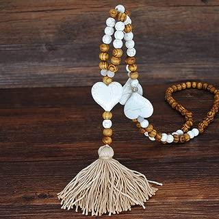 PRIX Collier long ethnique style fait à la Main Perle Bois Elephant Pendentif