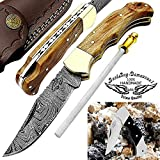 Pocket Knife Olive Wood 6.5'' Handmade Custom Damascus Steel Pocket Knife for Men & Women Folding Knife With Back Lock Knives Set For Hunting Fishing Camping Hiking Damascus Hunting Knife with Real Leather Sheath 100% Best Quality EDC Outdoors & Sports Hunting Knife 4 Piece Knife Set