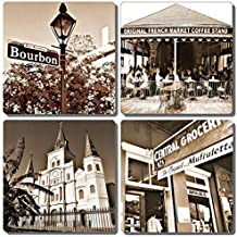 EXIT82ART - Stone Drink Coasters (Set of 4). New Orleans French Quarter. Vintage black and white images. Tumbled Stone, Cork-backed.
