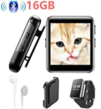 Mini Clip Bluetooth4.2 MP3 Player 16GB 1.5inch Full Touch Screen HiFi Lossless Music Player with FM Radio, Recorder, Back Clip, Watch Strap for Running Sports MP3 Player