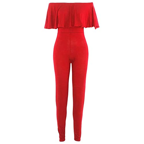 298e50973bd9 Be Jealous Womens Ladies Peplum Frill Off The Shoulder All In One Bardot  Jumpsuit Playsuit UK