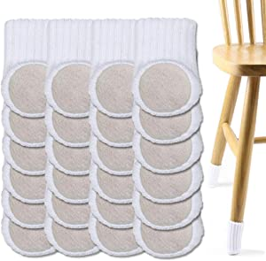 Chair Leg Floor Protectors,Furniture Sliders for Hardwood Floors,Chair Sockswith Felt Pad,High Elastic Floor Protectors forFurniture Legs,Knitted Chair Feet Socks (24 PCS) (White)