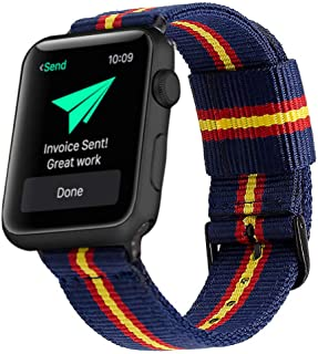 Estuyoya - Pulsera de Nailon Compatible con Apple Watch Colores Bandera de España, Ajustable Reemplazo Estilo Deportiva Casual Elegante para 42mm 44mm Series 5/4 / 3/2 / 1 Nike+ - OTAN
